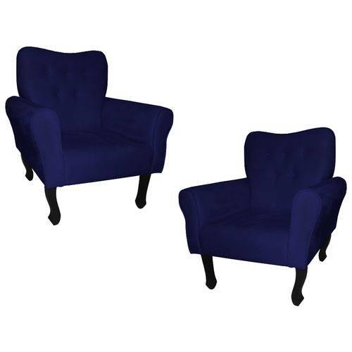 Kit 02 Poltronas Cadeira Nanda para Escritório e Consultório Sala Recepção Suede Azul Marinho