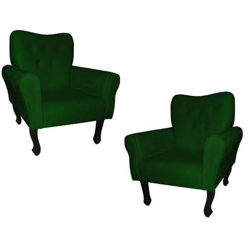 Kit 02 Poltronas Cadeira Nanda para Escritório e Consultório Sala Recepção Suede Verde