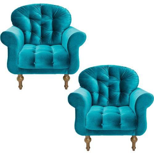 Kit 02 Poltronas Decorativas para Sala e Escritório Dani Suede Azul Acetinado