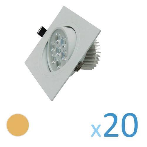 Kit 20 Spot Quadrado 7w Led Bivolt - Branco Quente