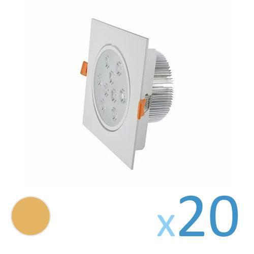 Kit 20 Spot Quadrado 9w Led Bivolt - Branco Quente