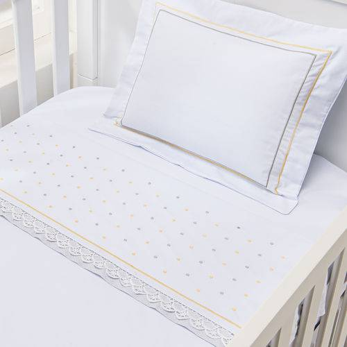 Kit 04 Peças/ Jogo de Lençol Premium 200 Fios para Berço Americano 3 Peças + Travesseiro Antissufocante - POA