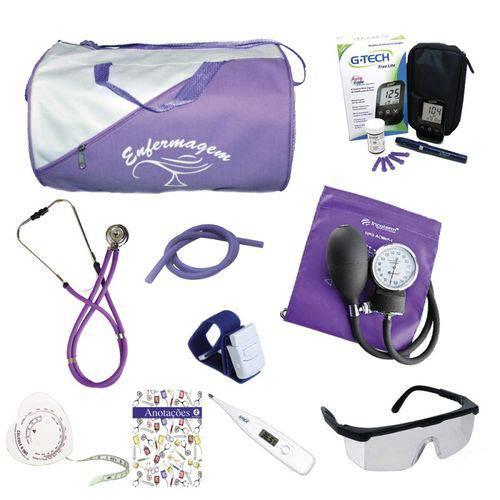 Kit 1 de Enfermagem Bolsa Lilás C/ Aparelho Lilás