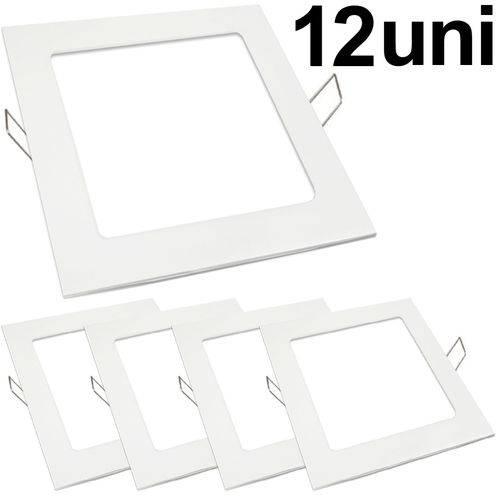 Kit 12 Luminária Plafon Led 18w Embutir Quadrado Branco Frio