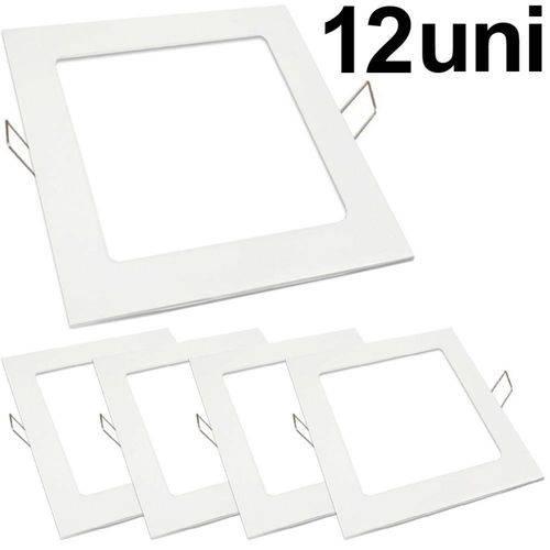 Kit 12 Luminária Plafon Led 25w Embutir Quadrado Branco Frio