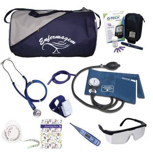 Kit 1 para Enfermagem Azul Marinho C/ Aparelho Azul