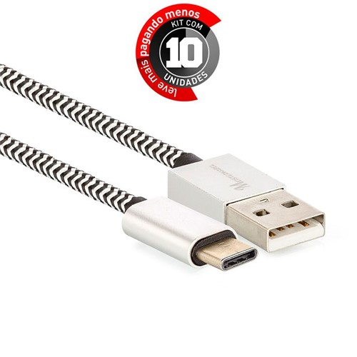 Kit 10 Cabo Cabo USB C para USB Revestido com Tecido - Preto - 1m