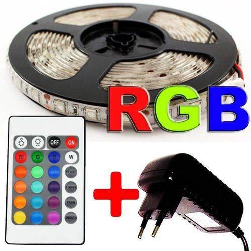 Kit 5 Fita Led Ultra RGB 3528w Prova Dagua Fonte Controle