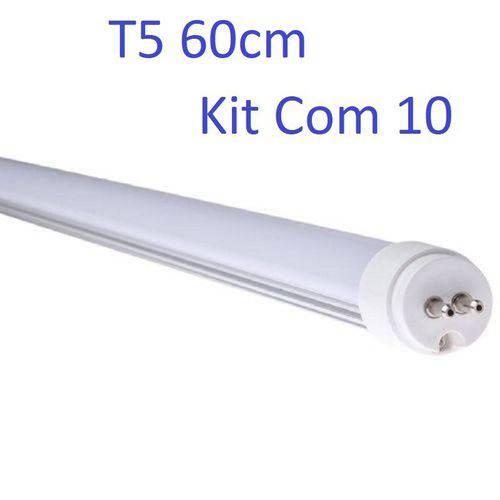 Kit 10 Lâmpada Tubular Led T5 Bivolt 60cm Branco Frio 6000k 10w