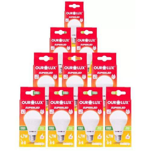 Kit 10 Lâmpadas Bulbo LED 4,7W Ourolux