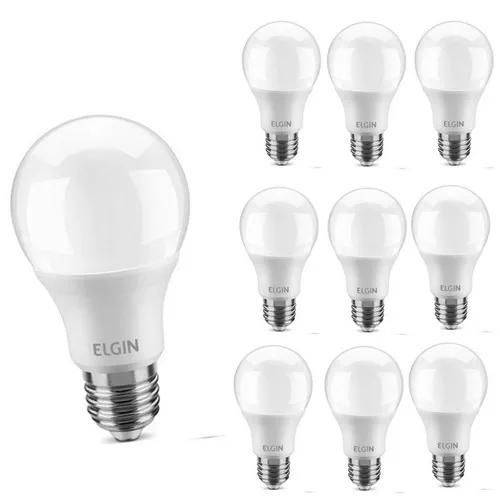 Kit 10 Lâmpadas LED Bulbo Power 9W 6500K A60 Bivolt Elgin