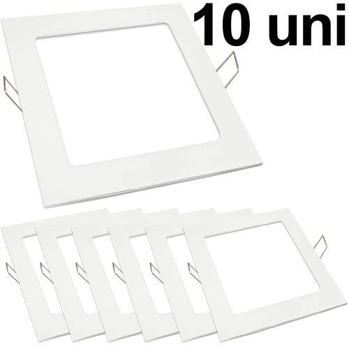 Kit 10 Luminária Plafon Led 18w Embutir Quadrado Branco Frio