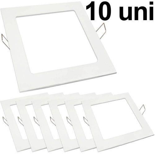 Kit 10 Luminária Plafon Led 25w Embutir Quadrado Branco Frio
