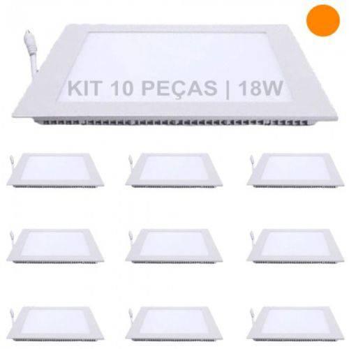 Kit 10 Plafon 18w Luminárias LED Painel Embutir QUADRADO Branco Quente SLIM