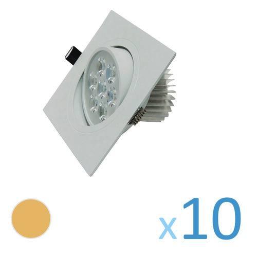 Kit 10 Spot Quadrado 7w Led Bivolt - Branco Quente