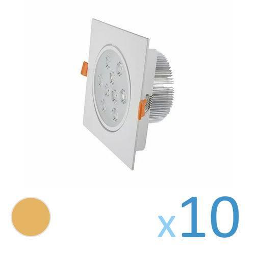 Kit 10 Spot Quadrado 9w Led Bivolt - Branco Quente