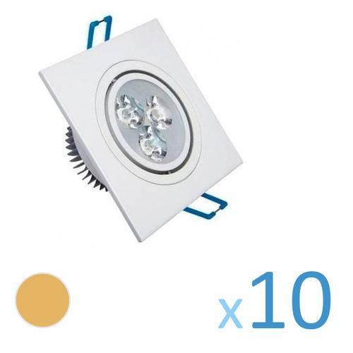Kit 10 Spot Quadrado 3w Led Bivolt - Branco Quente