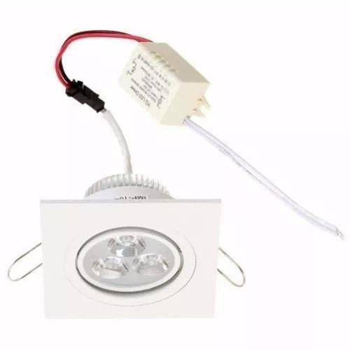 Kit 10 Spot 3w Quadrado Branco Quente Embutir Direcionável Super Led