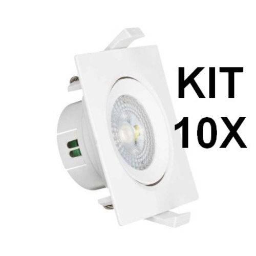 Kit 10 Spots LED 5W 3000K Bivolt - Quadrado Branco - OL
