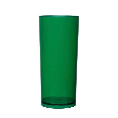 KIT 100 Copos Long Drink 370ml Verde Translúcido