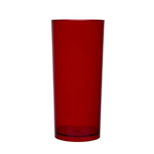 KIT 100 Copos Long Drink 370ml Vermelho Translúcido