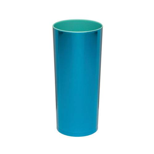 KIT 75 Copos Long Drink Metalizado Azul com Azul Tiffany