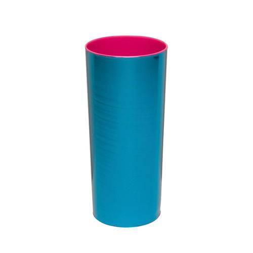 KIT 25 Copos Long Drink Metalizado Azul com Rosa Pink