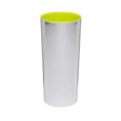 KIT 50 Copos Long Drink Metalizado Prata com Amarelo