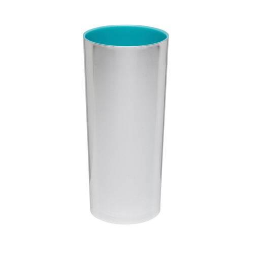 KIT 25 Copos Long Drink Metalizado Prata com Azul Tiffany