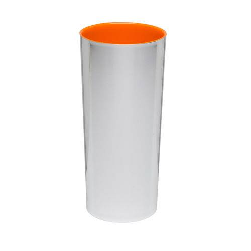 KIT 100 Copos Long Drink Metalizado Prata com Laranja