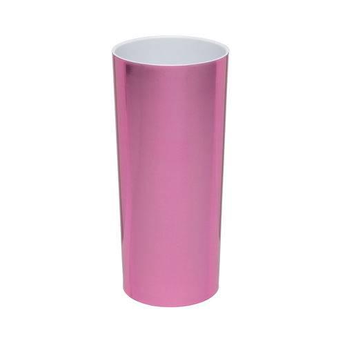 KIT 25 Copos Long Drink Metalizado Rosa com Interior Branco