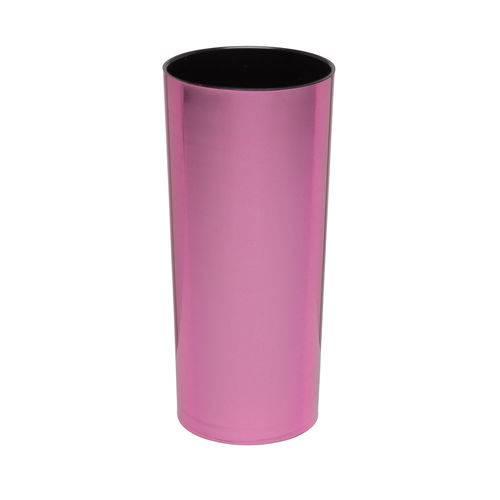 KIT 50 Copos Long Drink Metalizado Rosa e Interior Preto