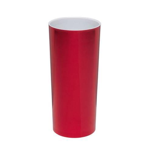 KIT 50 Copos Long Drink Metalizado Vermelho com Branco