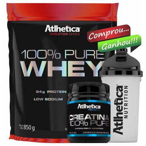 Kit 100% Pure Whey 850g + Creatina 100g - Atlhetica - Chocolate