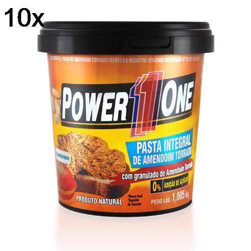 Kit 10X Pasta de Amendoim Integral Crocante - 1000g - Power One