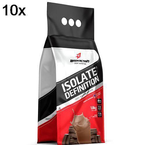 Kit 10X Whey Isolate Definition - 1800g Refil Chocolate - BodyAction