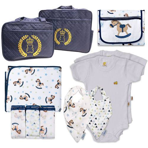 Kit 11 Peças Bolsa Maternidade Enxoval de Bebê Premium 100% Algodão 150 Fios Antialérgico Cavalinho