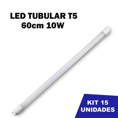 Kit 15 Lâmpada Tubular Led T5 Bivolt 60cm Branco Frio 6000k 10w
