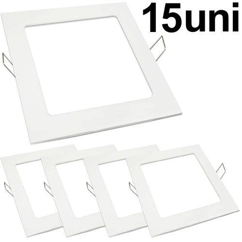 Kit 15 Luminária Plafon Led 18w Embutir Quadrado Branco Frio