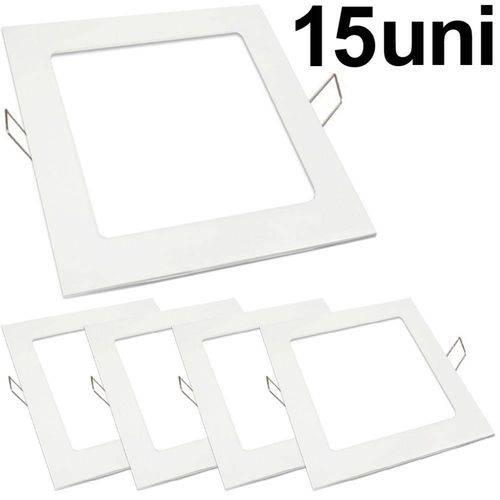 Kit 15 Luminária Plafon Led 25w Embutir Quadrado Branco Frio