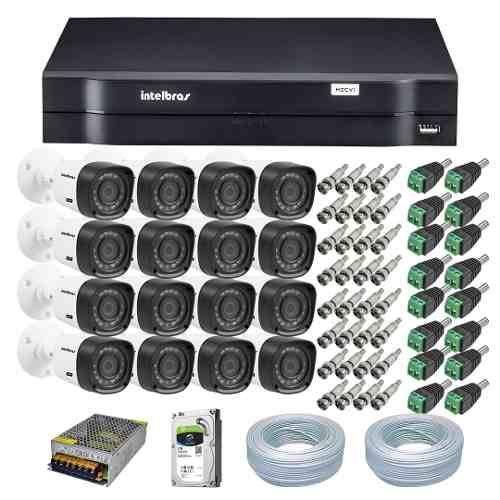 Kit 16 Câmeras Segurança Intelbras Bullet VHD 1120B + Dvr Intelbras 1016 + Acessórios