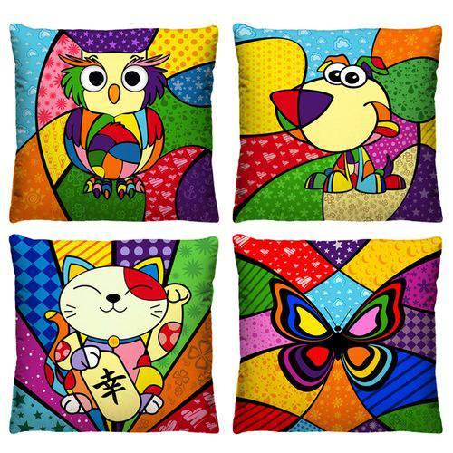 Kit 4 Almofadas Pop Art Estampas Coloridas Animais 40cm X 40cm