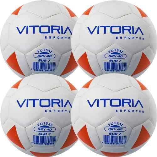 Kit 4 Bola Futsal Vitoria Brx Max 40 Sub 7 (3/6 Anos) Baby