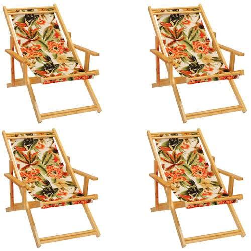 Kit 4 Cadeira Espreguiçadeira Preguiçosa Dobravel Madeira Maciça - Floral Tucano