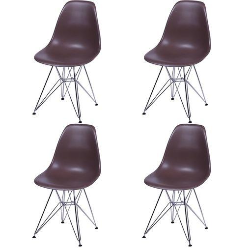Kit 4 Cadeiras Eames Eiffel Café PP OR Design 1102