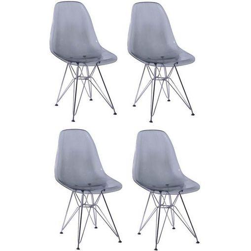 Kit 4 Cadeiras Eames Eiffel Fume PC OR Design 1101