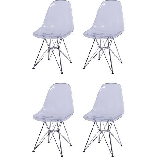 Kit 4 Cadeiras Eames Eiffel Transparente PC OR Design 1101