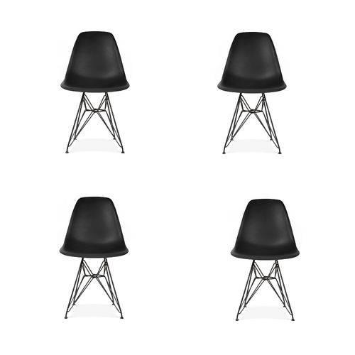 Kit 4 Cadeiras Eiffel Base Cromada Sem Braço
