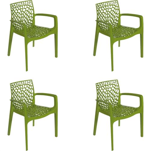 Kit 4 Cadeiras Gruvyer com Braços Verde OR Design