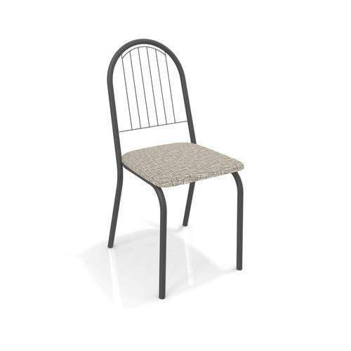 Kit 4 Cadeiras Noruega Preto Fosco Kappesberg 4C077 Linho Marrom